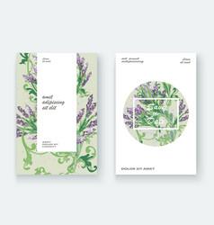 lavender floral pattern cover design hand drawn vector image