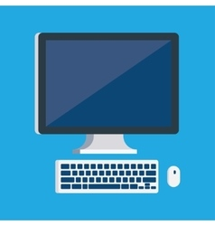 monitor with keyboard and computer mouse vector image