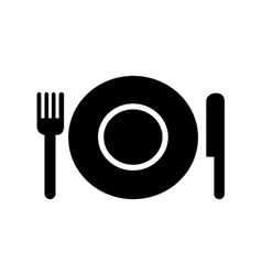 Plate with fork and knife restaurant menu icon vector image