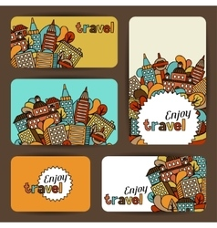 Town business cards with hand drawn houses vector image vector image