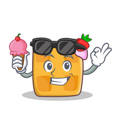 waffle character cartoon design with ice cream vector image vector image