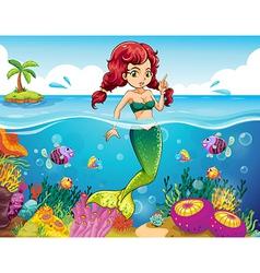 A sea with a mermaid vector image vector image