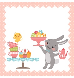 Easter rabbit tea party vector image vector image