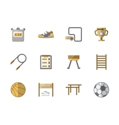 School sports equipment flat color icons vector image vector image