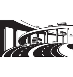 three level interchange on highway vector image vector image