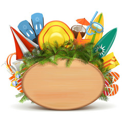 Wooden Board with Beach Accessories vector image vector image