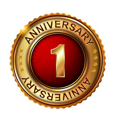 1 years anniversary golden label vector image