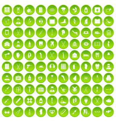 100 medical care icons set green circle vector