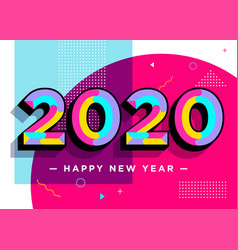 2020 happy new year card textured numbers trendy vector