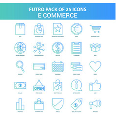 25 green and blue futuro e-commerce icon pack vector image