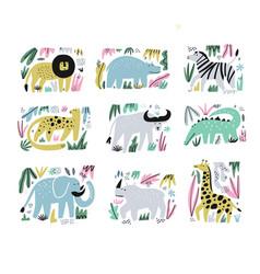 African animals hand drawn flat set vector