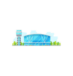 Airport terminal building and control tower vector