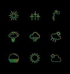 Airturbine sunset ecology sun cloud rain vector