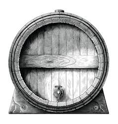 antique engraving oak barrel hand drawing vector image