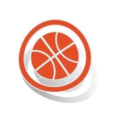 Basketball sign sticker orange vector image