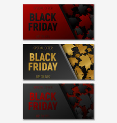 black friday sale web horizontal banners set vector image