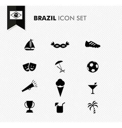 Brazil soccer icons set vector image