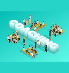 Business Education Isometric Template vector