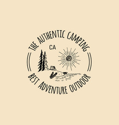 camp logo tourism sign with hand drawn vector image