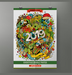 cartoon colorful hand drawn doodles 2019 year vector image