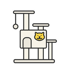 cats tree house color icon vector image