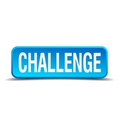challenge blue 3d realistic square isolated button vector image