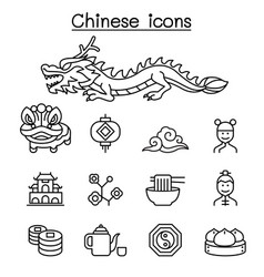 chinese icon set in thin line style vector image