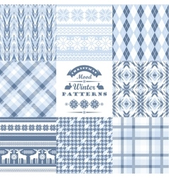 Christmas and New Year Set Plaid and ornamental vector image