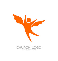 Church logo and cristian symbols vector