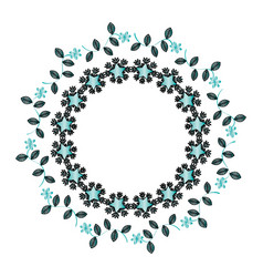 Circular floral decorative frame vector