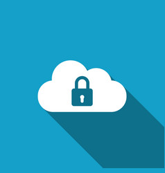 Cloud computing lock icon with long shadow vector