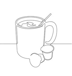 Coffee mug one continuous line abstract gra vector