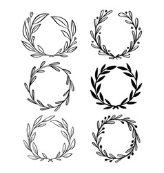 collection of hand drawn floral wreath with vector image
