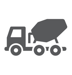 Concrete mixer truck glyph icon transport vector