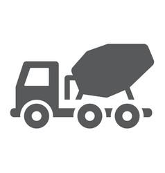 concrete mixer truck glyph icon transport vector image