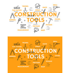 Construction tools posters with outline symbols vector