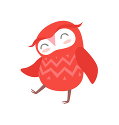 Cute funny red cartoon owlet bird character vector