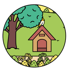 cute little bird on wooden house in park vector image
