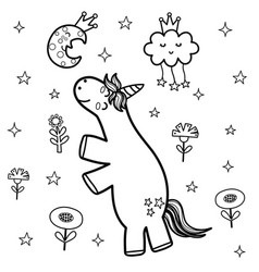 cute unicorn and sleeping moon coloring page vector image