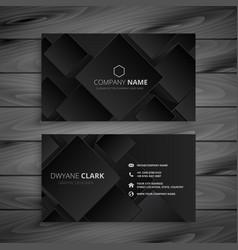 Dark black business card design vector