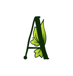 Doodling eco alphabet letter atype with leaves vector