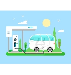 Electric vehicle charging vector image