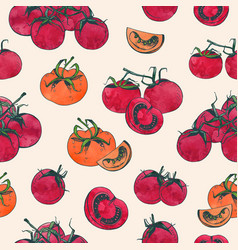 Elegant seamless pattern with whole and sliced red vector