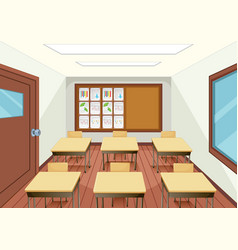 empty classroom interior design vector image