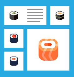 Flat icon sashimi set of oriental eating salmon vector