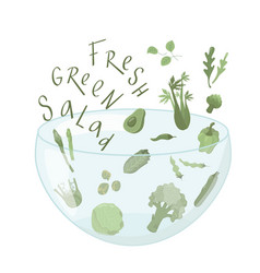 Fresh green salad sign with vegetables boho colors vector