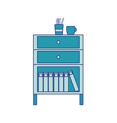 Full color cabinet file archive with coffee cup vector