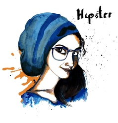 Girl ink hipster vector image