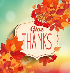 Give thanks autumn background vector