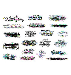 Glitch and digital pixel noise textures vector
